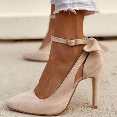 Women's PU Stiletto Heel Pumps With Bowknot Buckle Solid Color shoes