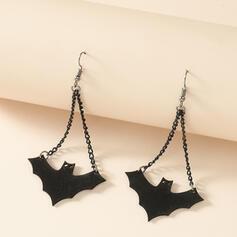Bat Shaped Halloween Alloy PU Earrings 2 PCS