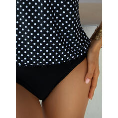Dot Print Strap U-Neck Vintage Plus Size Tankinis Swimsuits