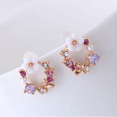 Flower Shaped Alloy Rhinestones With Rhinestone Women's Earrings (Set of 2)