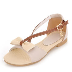 Women's Leatherette Flat Heel Sandals Flats Peep Toe Slingbacks With Bowknot Buckle shoes