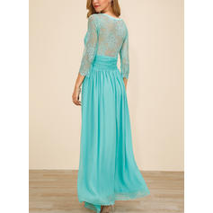 Lace/Solid 3/4 Sleeves A-line Maxi Party/Elegant Dresses