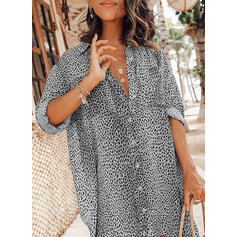 Print/Leopard 3/4 Sleeves Shift Above Knee Casual/Vacation Dresses
