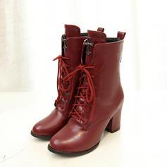 Frauen PU Stämmiger Absatz Absatzschuhe Stiefel Stiefel-Wadenlang mit Zuschnüren Schuhe