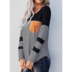 Renk Bloğu Çizgili Yuvarlak Yaka Uzun kollu Günlük Pólók