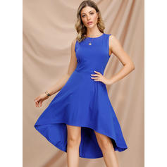 Solid Sleeveless A-line Asymmetrical Vintage/Party/Elegant Skater Dresses