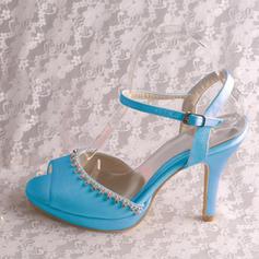 Women's Silk Like Satin Stiletto Heel Platform Pumps With Crystal