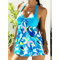Floral Print Halter V-Neck Sexy Vintage Plus Size Tankinis Swimsuits