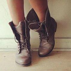 Dla kobiet PU Płaski Obcas Plaskie Zakryte Palce Kozaki Z Sznurowanie obuwie