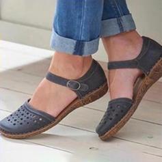 Femmes PU Talon plat Sandales Bout fermé avec Boucle Ouvertes chaussures