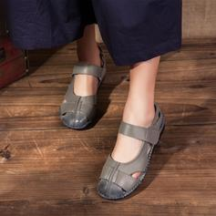 Kvinder Ægte Læder Flad Hæl Fladsko Lukket Tå med Udhul sko