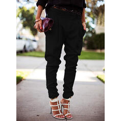 Solid Casual Long Solid Pants