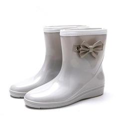 Femmes PVC Talon compensé Compensée Bottes Bottes de pluie avec Bowknot chaussures