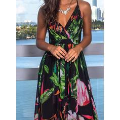 Εκτύπωση/Φλοράλ Αμάνικο Φαρδύ Κάτω Διακοπές Μάξι Сукні