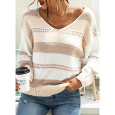 Color Block Chunky knit V-Neck Casual Sweaters