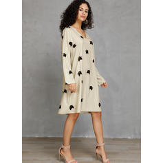 Animal Print Long Sleeves Shift Knee Length Casual Dresses