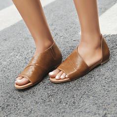 Kvinder PU Flad Hæl sandaler Fladsko Kigge Tå med Andre sko