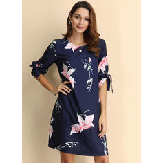 Print/Floral 1/2 Sleeves Shift Above Knee Casual Dresses