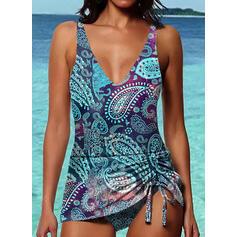 Print Strap V-Neck Fresh Boho Tankinis Swimsuits