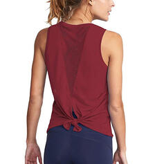 Round Neck Sleeveless Solid Color Knotted Sports Sweatshirts