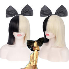 Straight Synthetic Hair Capless Wigs Halloween Party Online SIA Alive This Is Acting Half Black & Blonde Short Wig with Bowknot Accessory Costume Cosplay Wigs