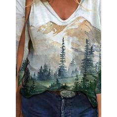Δάσος Minta V-nyak Hosszú ujjú Μπλουζάκια