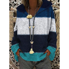 Color Block Chunky knit Hooded Casual Sweaters