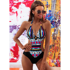 Print Halter Elegant Plus Size One-piece Swimsuits