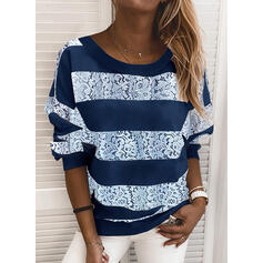 Color Block Lace Round Neck Long Sleeves Sweatshirt