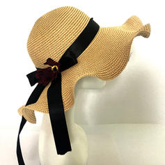 Ladies' Rattan Straw With Bowknot Floppy Hats/Straw Hats