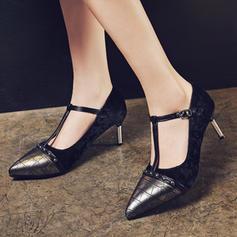 Femmes Similicuir Talon stiletto Escarpins Bout fermé avec Boucle chaussures