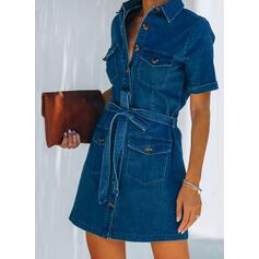 Solid Short Sleeves Sheath Above Knee Casual/Denim Shirt Dresses