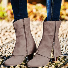 Women's PU Chunky Heel Mid-Calf Boots Martin Boots With Zipper shoes