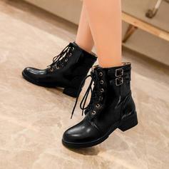 Mulheres PU Salto robusto Bombas Botas com Aplicação de renda sapatos