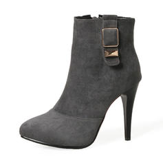Women's Suede Stiletto Heel Pumps Boots Mid-Calf Boots With Buckle Zipper shoes
