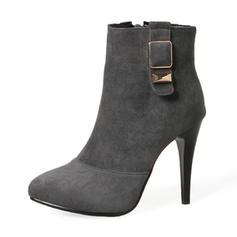 Femmes Suède Talon stiletto Escarpins Bottes Bottes mi-mollets avec Boucle Zip chaussures