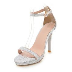 8d292695734fad ... Vrouwen Sprankelende Glitter Stiletto Heel Sandalen Pumps Plateau Peep  Toe met Gesp schoenen ...