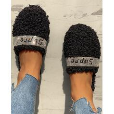 Women's Velvet Flat Heel Flats Slippers With Rhinestone Faux-Fur shoes
