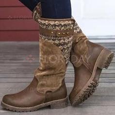 Frauen PU Stämmiger Absatz Stiefel-Wadenlang mit Zweiteiliger Stoff Schuhe