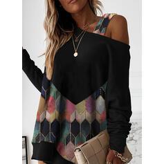 Geometric Print Long Sleeves Shift Above Knee Casual Tunic Dresses