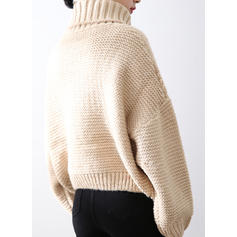 Solid Cable-knit Ribbed Chunky knit Turtleneck Casual Sweaters