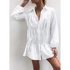 Solid Long Sleeves Shift Above Knee Little Black/Casual Shirt Dresses