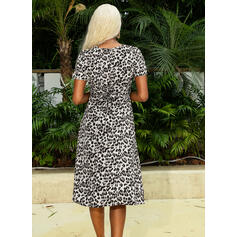 Leopard Short Sleeves Sheath Casual Midi Dresses