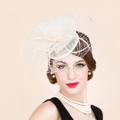 Ladies' Lovely Tulle With Feather Fascinators