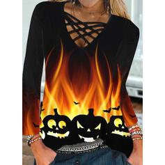 """Halloween Tisk Animal Výstřih do """"V"""" Dlouhé rukávy Casual Bluze"""
