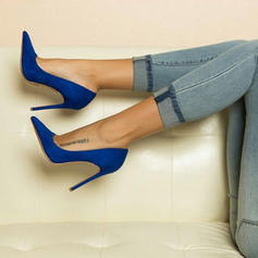 Women's Suede Spool Heel Pumps Closed Toe shoes