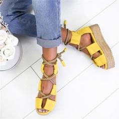 Femmes PU Talon plat Sandales Chaussures plates À bout ouvert avec Dentelle chaussures