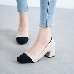 Vrouwen Suede Chunky Heel Pumps met Gesplitste Stof schoenen