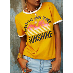 Print Figure Forest Round Neck Short Sleeves Casual T-shirts