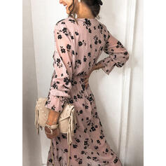 Print/Floral Long Sleeves A-line Wrap/Skater Casual Midi Dresses